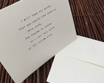 Personalized Greeting Card, Vintage Typewriter, Your Own Words, Mailing Service Option