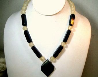 Black Onyx n White Frosted Glass Necklace, Understated and Elegant Art Deco Style Geometry, 1980s,