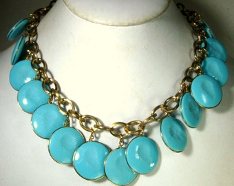 Turquoise Cameo CHARM Necklace, 15 Glass Soldier Dangles on Gold Chain, 1980s,  Men On a Chain