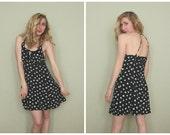 1990s Daisy Halter Sundress | Vintage 90s Black and White Flower Mini Dress | Small S Medium M