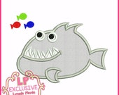 PIRANHA Applique 4x4 5x7 6x10 Machine Embroidery Design SVG Instant Fish