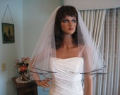 Shimmery White  Wedding Veil with Black Satin Cord Edge Fingertip Length Bridal Veil 2 tiers 31 & 34 Inches Long Made in the USA 48667