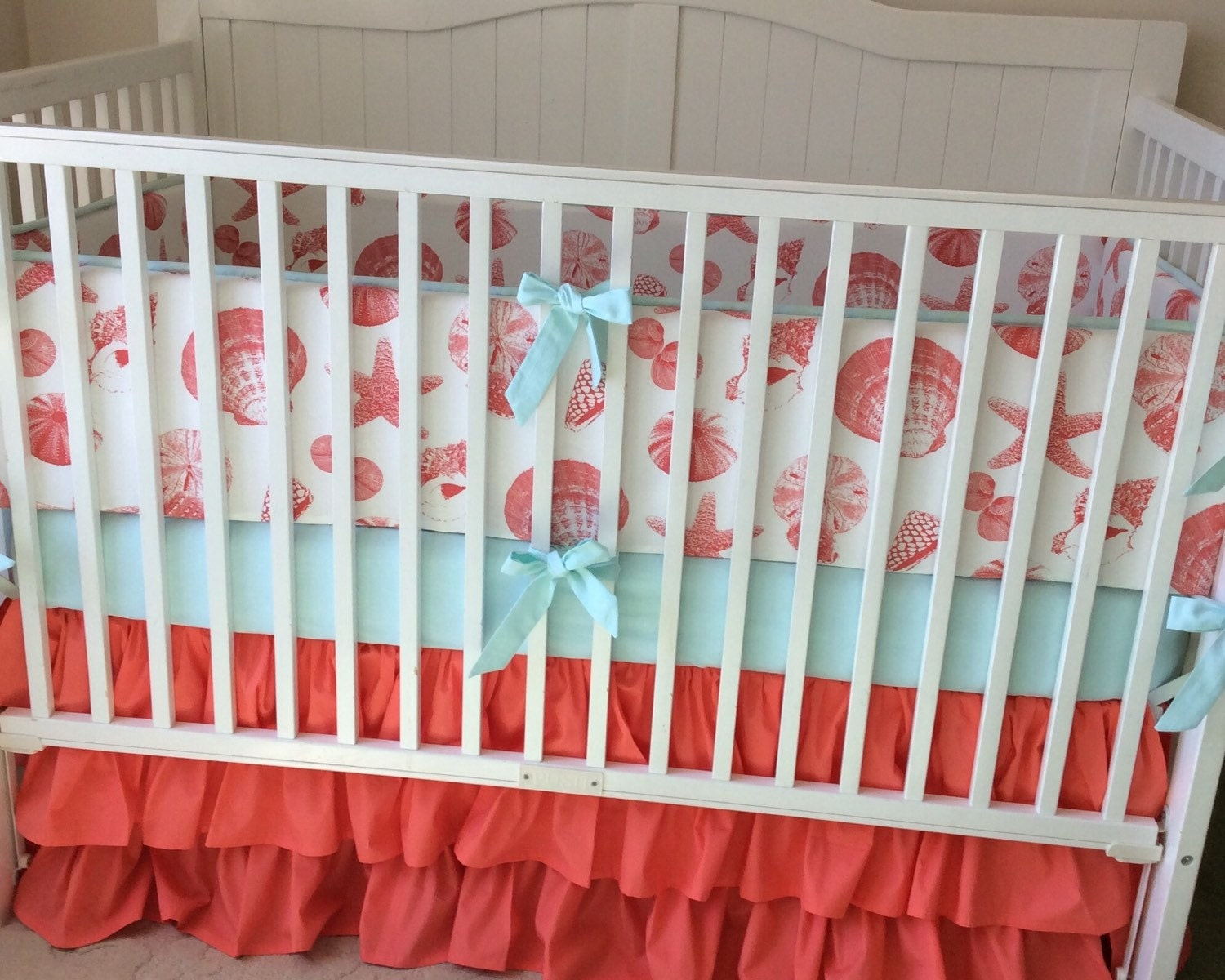 Ruffled Beach Girl Crib Bedding Set By Butterbeansboutique