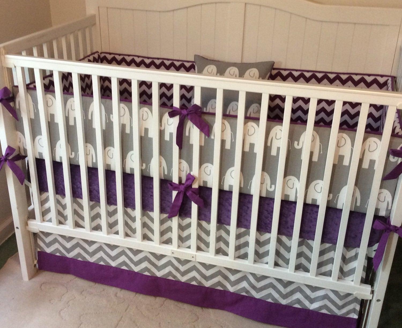 crib bedding set gray purple elephant made by. Black Bedroom Furniture Sets. Home Design Ideas