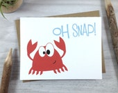 Congratulations Card, Birthday Card, Children's Card, Celebrate Card, Red Crab - Single
