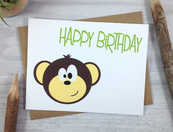 Monkey Baby Shower Card Jungle Animal First Birthday Card for Baby Boy Happy Birthday Card Blank Cute Card for Kids Birthday Stationery Card