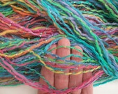 Hand spun art yarn.  Hand spun BFL yarn. Pastel color yarn. Baby yarn.Easter. Yarn for Easter project. Happy  Easter  morning .