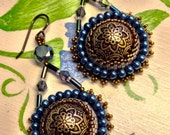 RESERVED for Edie - Bead Embroidery Earrings