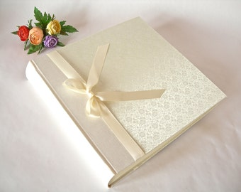 Photo album - Ivory brocade with satin ribbon - 12x12in 30x30cm - Ready to ship