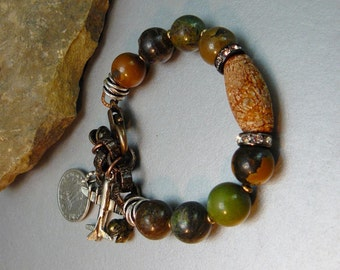 Natural Turquoise Beaded Bracelet with Organic Jasper Focal - Copper Chain and Charms