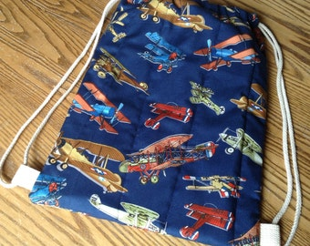 Quilted Backpack for Toddler Drawstring Closure Vintage Airplanes on Navy