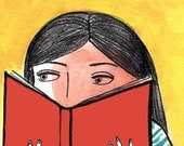 Yellow and Red Reading and Books Illustration 8.5x11in