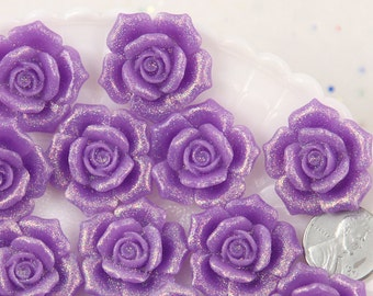 Flower Resin Flatbacks - 28mm Beautiful Purple Glitter Rose Flatback Resin Cabochons, Large Size - 5 pc set