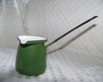 Vintage Enamelware Green Butter Warmer..Soup Ladle..French Country Creamer..Succulent Planter...Polish...Collectable...Retro Serving
