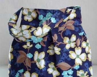 Navy Dogwood Bloom Pleated Hobo Handbag / Purse - READY TO SHIP