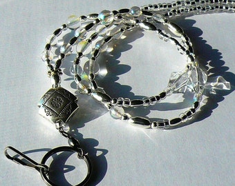 Silver Beaded Lanyard Badge Holder Id Necklace