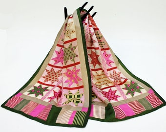 "SALE - Vintage Echo Scarf / Quilt Design / Long Scarf / Sash / Silk / 46"""