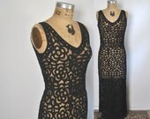 Black Batten Lace Dress / party wedding / Small