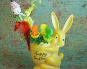 Vintage Easter Bunny Candy Container with Clown & Chick Picks