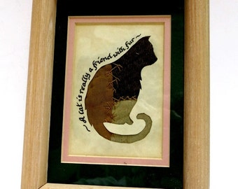 Framed Cat Picture Scherenschnitte Calligraphy on Parchment  Antique Fabric Vintage
