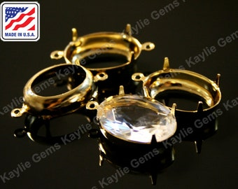 18x13 Oval Prong Setting Pure 24K Gold Plated Open Back 1 Ring / 2 Ring Made In the USA -4pcs