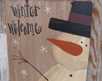 Primitive Country Snowman Personalized Wooden Sign Plaque GCC03608