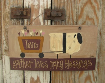 Primitive Sheep Pulling Valetine Heart Cart Wooden Sign Plaque GCC04805