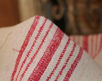 Nr. 333:  antique rustic grainsack  FRENCH RED  holiday feeling pillow cushion rural 40.94  long