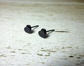 Mini Black Heart Stud Earrings, Dainty Earrings