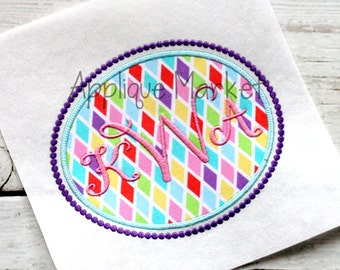 Machine Embroidery Design Applique Oval Frame Beaded INSTANT DOWNLOAD