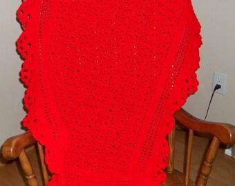 Crocheted Baby Blanket, Afghan in Red, Baby Afghan, Baby Blanket