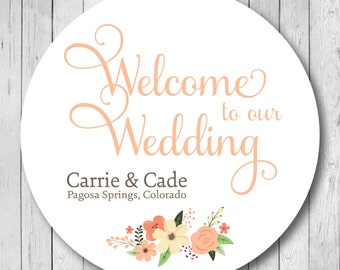 Welcome To Our Wedding Rustic Floral Wedding Stickers or Tags