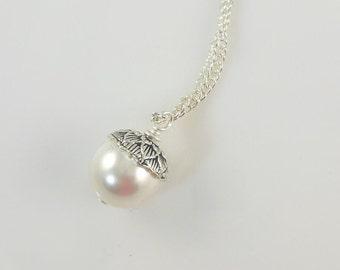 Acorn Pendant Necklace in White Swarovski Pearl   --  Fairchild  --