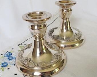 Vintage Silver Plate Candle Holders Grape Design Wide Base Wedding Centerpiece Table Decoration Cottage Decor