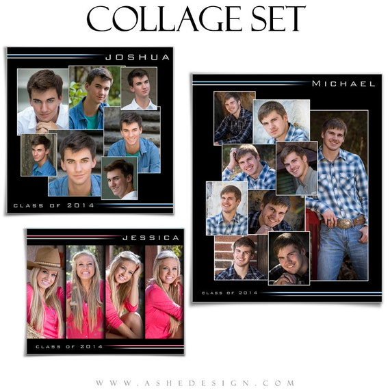 Senior collage template set streak of light 3 photoshop for Senior photo collage templates