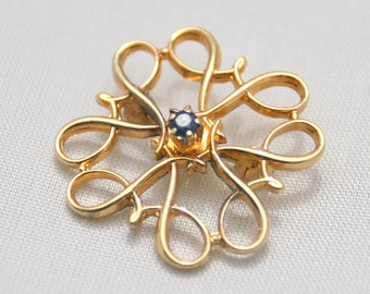 Vintage Small Delicate Sterling Silver Vermeil Sapphire Stone Brooch Signed r sterling