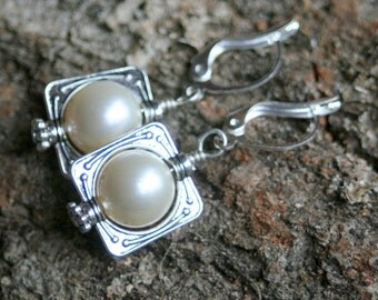 Simply square dangle earrings white glass pearl beads