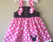 Disney Girls dress Minnie Mouse knot dress Girls Minnie knot dress Minnie dress Birthday Minnie Mouse dress