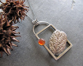 Necklace of Cast Viburnum Leaf and Carnelian in Sterling Silver Frame