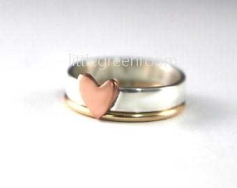Heart Stack Ring, Heart Band Ring, Stack Ring Duo, Stack Rings, Sterling Stack Rings, Copper Heart Ring, Gold Filled Ring, Silver Ring