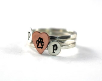 Paw Print Rings, Puppy Print Ring, Dog Paw Print Ring, Cat Paw Print Ring, Stack Rings, Stack Ring, Silver Stack Ring, Personalized Ring