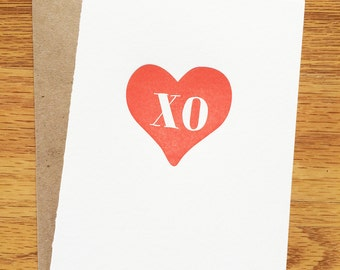 xo red heart - single letterpress greeting card