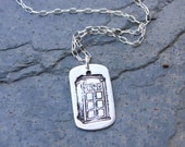 Tardis Dog Tag Necklace - Handmade fine silver pendant - Sterling silver chain - Doctor Who - Free Shipping USA - Dr Who