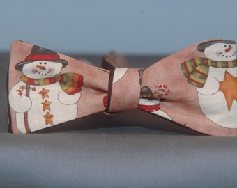 Snow Man on Tan  Bow Tie