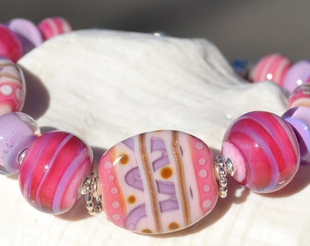 NEAR and DEAR-Handmade Lampwork and Sterling Silver Bracelet