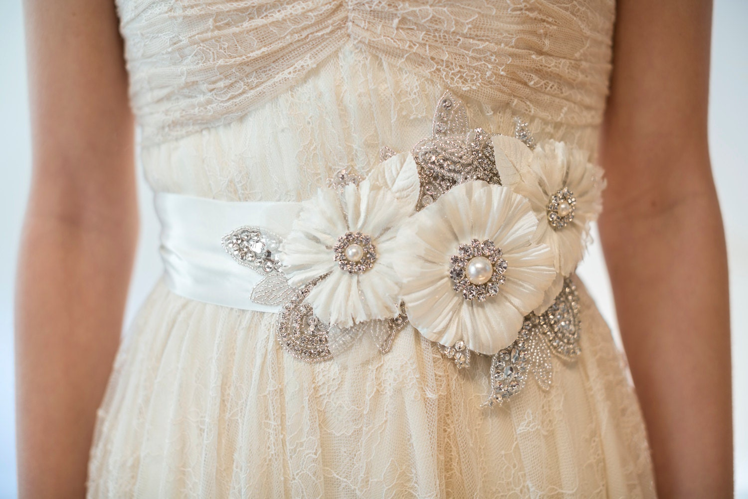 Bridal gown sash rhinestone sash flower by powderbluebijoux for Wedding dress sash with rhinestones