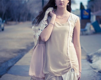 upcycled clothing, upcycled fashion, romantic shift dress . alabaster afternoon . XS - S