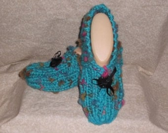 Women's Hand Knitted Turquoise Slippers with Wooden button Size 6, 7, or 8