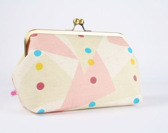 Frame clutch purse - Jubilee triangles - Cosmetic purse / Japanese fabric / geometric / peach pink cream yellow turquoise plum / dots modern