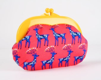 Plastic frame purse - Floral deers on pink - Gamaguchi medium / Bright yellow kisslock purse / Kawaii japanese fabric / Cobalt